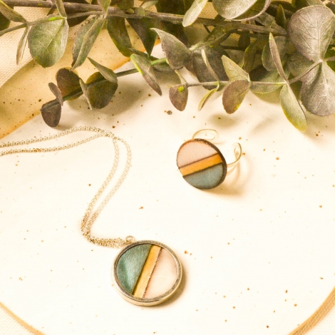 Blue ring and necklace set