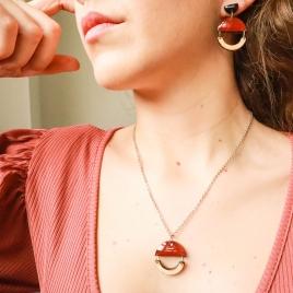 Collar y pendientes geométricos rosa