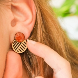 Ito Earrings Deep red