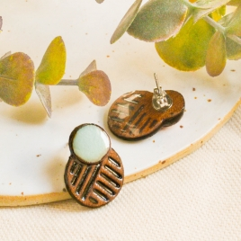 Wooden ear studs, brown wood earrings