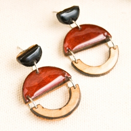 Pink wood dangle drop earrings