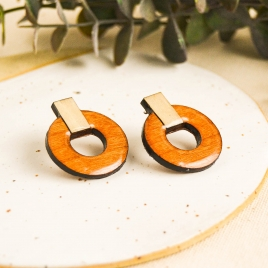 Orange wood earrings