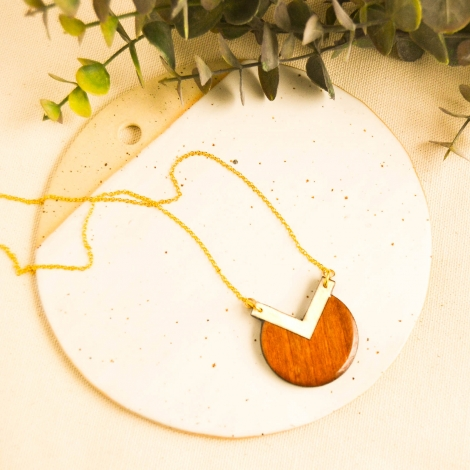 Geometric orange necklace