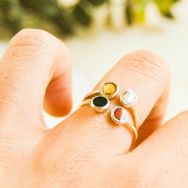 Silver and colorful dots ring