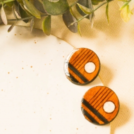 Art stud earrings in wood